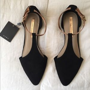 ZARA Black and Rose Gold Flats